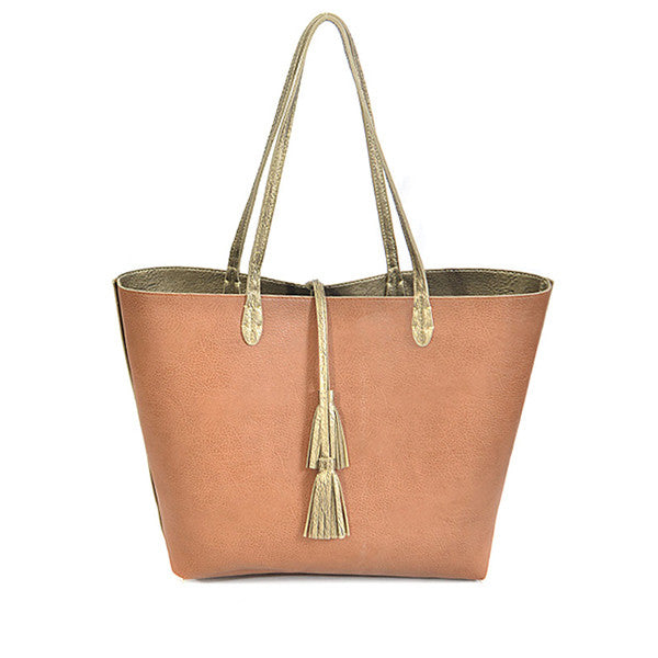 Double Duty Reversible Tote ~ Gold - Prairie Rose Boutique