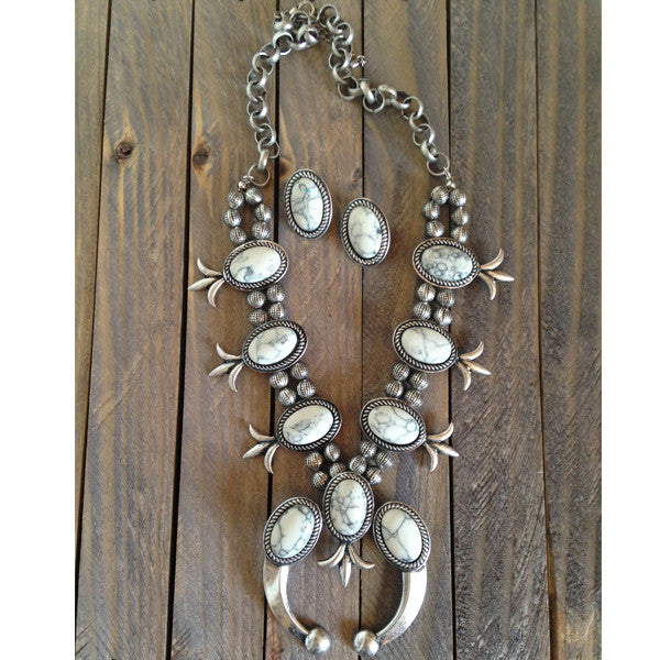 Squash Blossom Necklace & Earrings - Prairie Rose Boutique