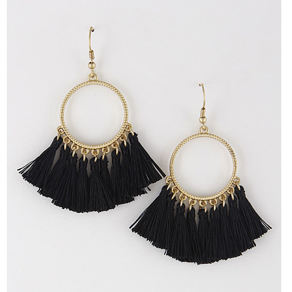 Tassel Earrings - Black - Prairie Rose Boutique