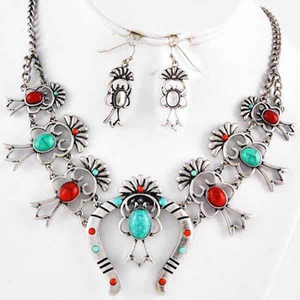 Turquoise Coral Squash Blossom Necklace & Earrings - Prairie Rose Boutique