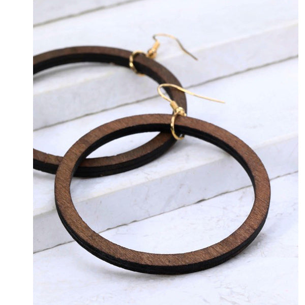 Wood Ring Earrings - Prairie Rose Boutique