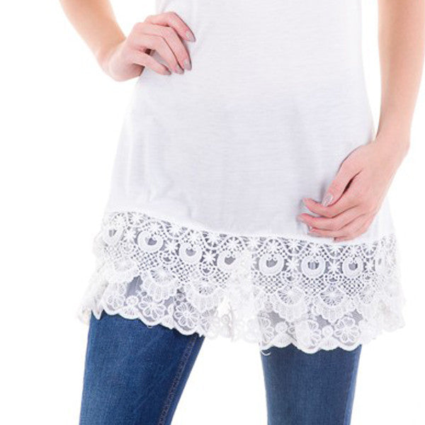 Lace Extender Slip Top - White - Prairie Rose Boutique