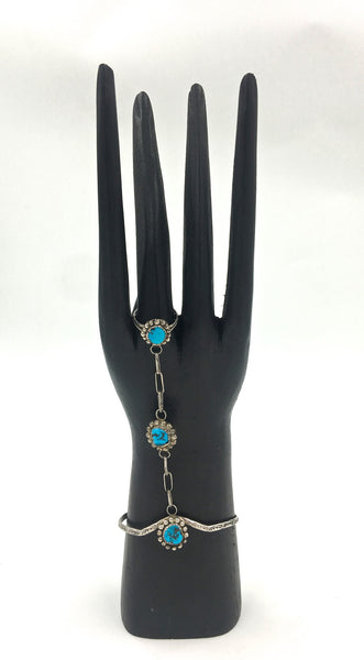 We're Connected Turquoise Vintage 70's Ring/Chain Bracelet
