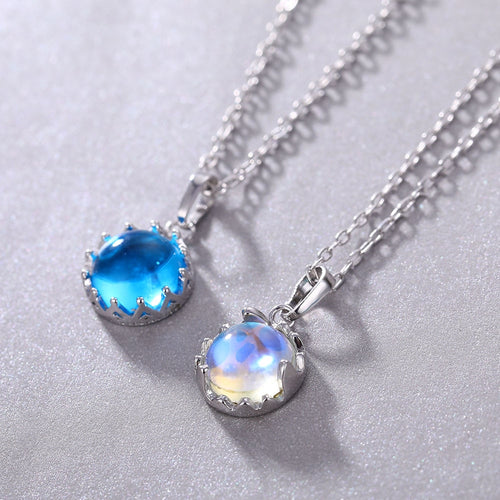 Aurora Borealis Necklace Sterling Silver color round clavicle chain neck necklace fashion jewelry party jewelry