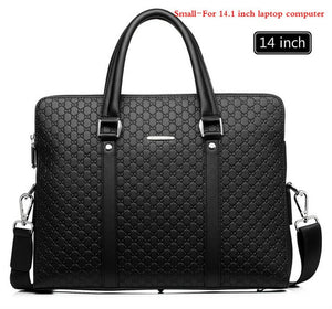 New Double Layers Men's Leather Business Briefcase Casual Man Shoulder Bag Messenger Bag Male Laptops Handbags Men Travel Bags