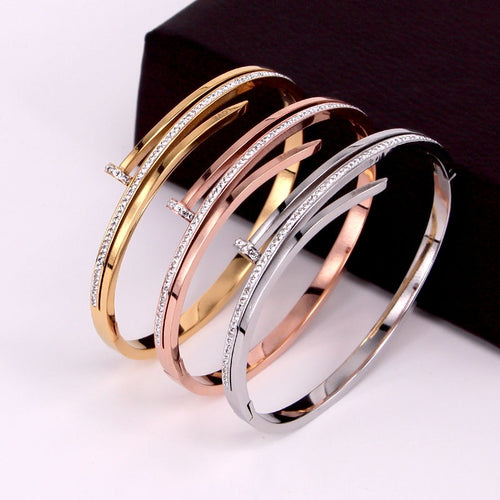 Personality Women Bracelets Bangle for Women Three-layer Full Cubic Zirconia Trendy Female Stainless Steel Jewelry