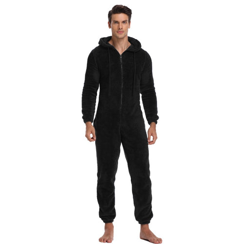 Men Warm Teddy Fleece Onesie Fluffy Sleep Lounge Adult Sleepwear One Piece Pyjamas Male Jumpsuits Hooded Onesies For Adult Men