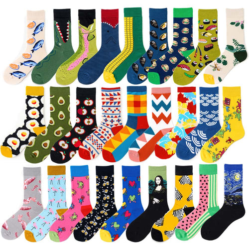 Novelty Happy Funny Men Graphic Socks Combed Cotton Omelette Frog Crazy Burger Salmon Corn Avocado Bird Fish Sock Christmas Gift