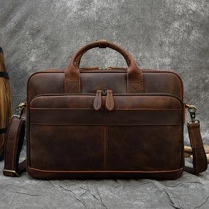 "MAHEU Men Briefcase Genuine Leather Laptop Bag 15.6"" PC Doctor Lawyer Computer Bag Cowhide Male Briefcase Cow Leather Men Bag"