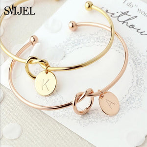 Personalize Knot Initial Bracelets Bangles A-Z 26 Letters Initial Charm Bracelet Love Bangles for Women Jewelry Pulseiras
