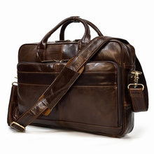 "Load image into Gallery viewer, MAHEU Men Briefcase Genuine Leather Laptop Bag 15.6"" PC Doctor Lawyer Computer Bag Cowhide Male Briefcase Cow Leather Men Bag"