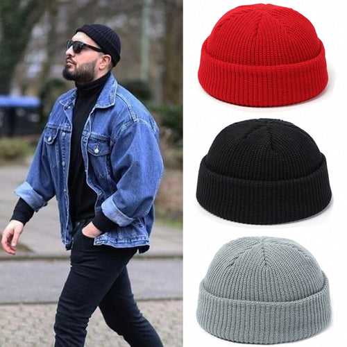 Skullcap Men or Women Beanie Hat Winter Retro Brimless Baggy Melon Cap Cuff Docker Fisherman Beanies Hats For Men