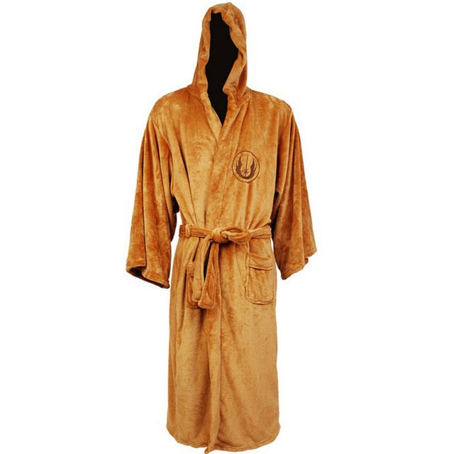 Flannel Robe Male with Hooded Thick Star Wars Dressing Gown Jedi Empire Men's Bathrobe Winter Long Robe Mens Bath Robe Pajamas Work From Home Robe