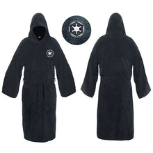 Load image into Gallery viewer, Flannel Robe Male with Hooded Thick Star Wars Dressing Gown Jedi Empire Men's Bathrobe Winter Long Robe Mens Bath Robe Pajamas Work From Home Robe