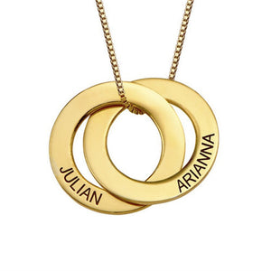 Personalized Connected Rings Pendant Necklace Custom Engraved Name Gold Women's Round Double Buckle Choker Necklace Chain Gifts