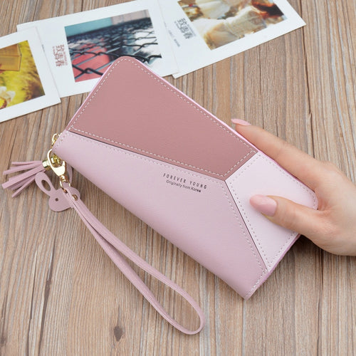 Geometric Luxury Brand Leather Women Long Zipper Coin Purses Tassel Design Clutch Wallet Female Money Credit Card Holder
