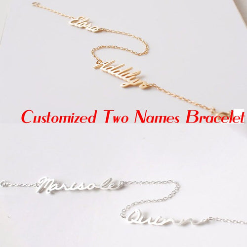Personalized Double Names Women Bracelets Classical Personalized two Nameplate 925 Silver Jewelry Christmas gift birthday gift