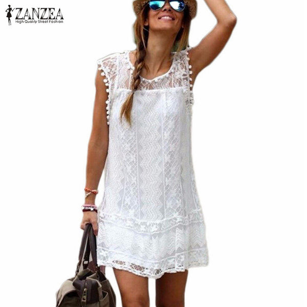 Summer Dresses. Sexy Women Casual Sleeveless Beach Short Dress Tassel Solid White Mini Lace Dress Vestidos Plus Size