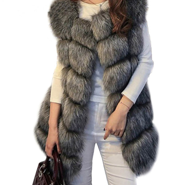 Faux Fur Vests - Winter Warm Luxury Fur Vest for Women Faux Fur Coat Vests Women's Coats Jacket High Quality Furry Coat
