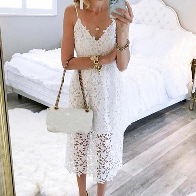 Womens Sundresses - Girls Hollow Out A-line Sundress Women Sexy Spaghetti Strap Backless Summer Lace Dresses Femme V-neck Midi Dres Plus Size GV870