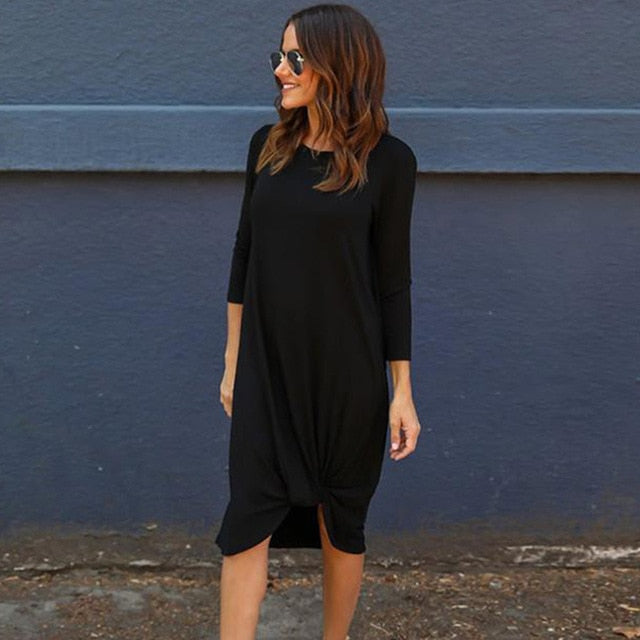 Dresses Womens Casual Office Lady 2018 New Stylish Minimalist Long Sleeve Short Mid-Calf Tshirt Dress For Women Vestidos #904
