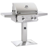 "24"" American Outdoor Grill L-Series On Patio Post Mount Grill w/ Lights, Natural Gas"