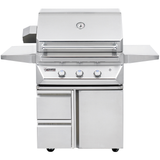 "30"" Twin Eagles Freestanding Gas Grill w/ Infrared Rotisserie on Cart w/ Single Door Plus Storage Drawers, Liquid Propane"