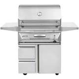 "30"" Twin Eagles Freestanding Charcoal Grill on Cart w/ Single Door and Storage Drawers"