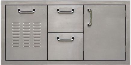 PCM 260 Series Single Door Double Drawer and Trash 42 Inch Right