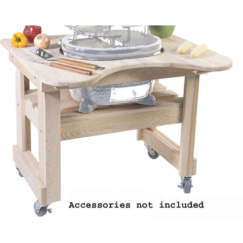 Primo Cypress Wood Table For Large Round Cooker- (4-Wheels)