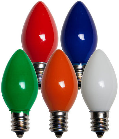C7 Multicolor Opaque Bulbs