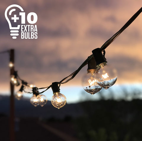 50ft Black String Lights, 60 G40 Globe Bulbs (10 Extra)