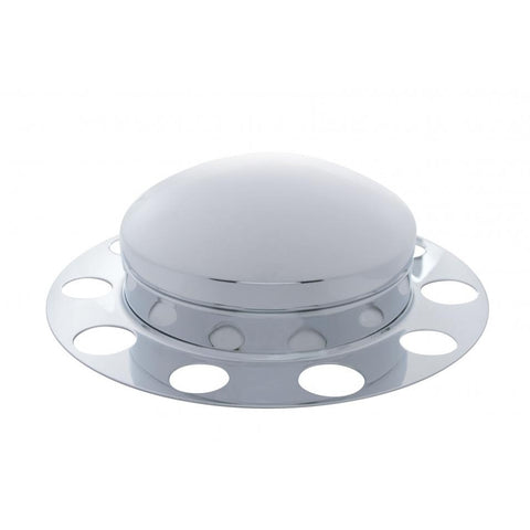 Dome Front Axle Cover 3 Piece Kit - Aluminum Wheel