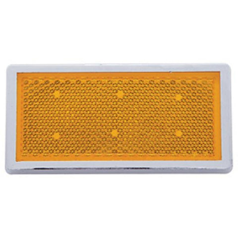 Rectangular Quick Mount Reflector With Chrome Bezel - Amber or Red