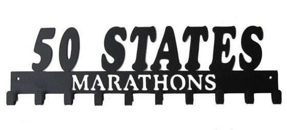 50 States Marathons Club 10 Hook Black Medal Display Hanger