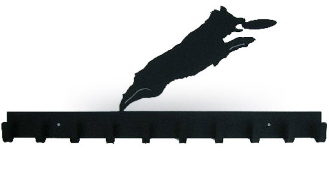 Agility Dog Catching Frisbee Black 10 Hook Medal Display Hanger