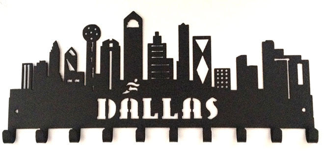 Dallas Skyline Buildings Black 10 Hook Medal Display Hanger