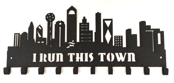Dallas Skyline Buildings I Run This Town Black 10 Hook Medal Hanger
