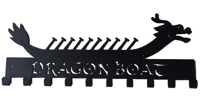 Dragon Boat with Paddles Black 10 Hook Medal Display Hanger