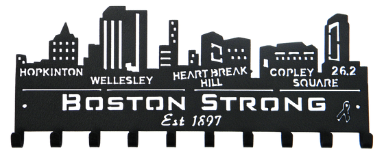 Boston Strong Marathon Skyline 10 Hook Black Medal Hanger