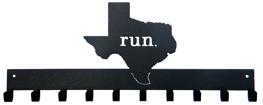 Run State of Texas Black 10 Hook Medal Display Hanger