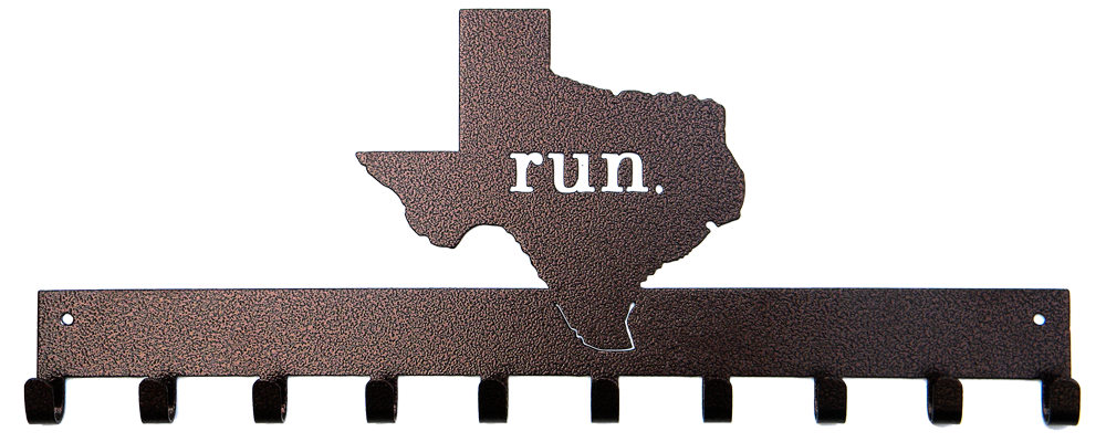 Run State of Texas Bronze 10 Hook Medal Display Hanger