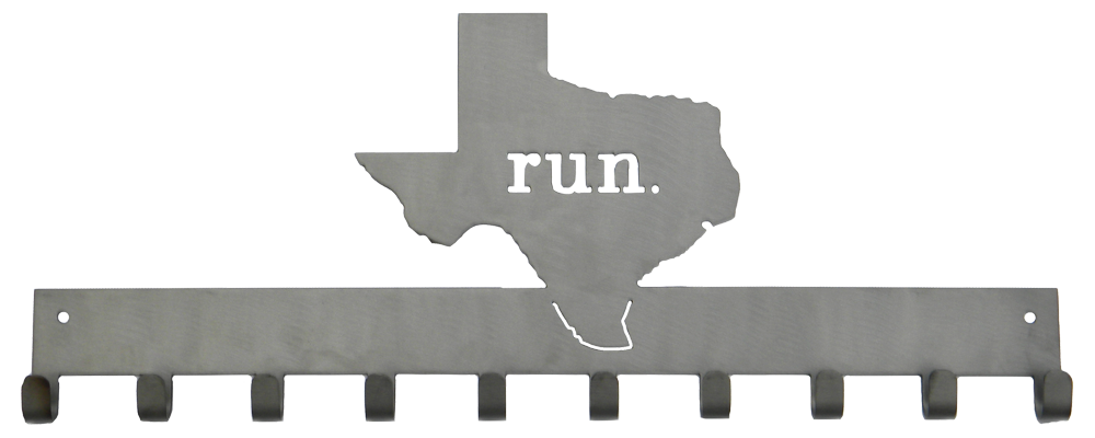 Run State of Texas Matte Silver 10 Hook Medal Display Hanger