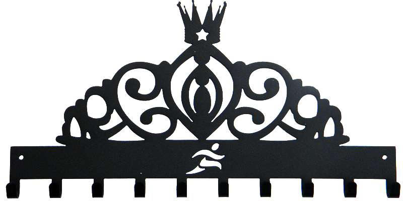Disney Princess Tiara Runner Black Sparkle 10 Hook Medal Display Hanger