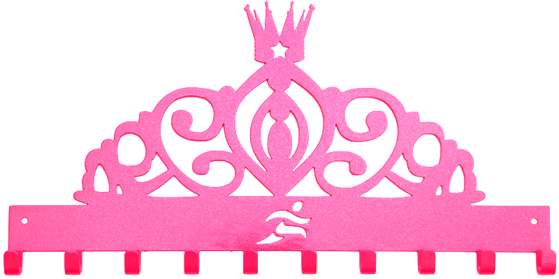 Disney Princess Tiara Runner Pink Sparkle 10 Hook Medal Display Hanger