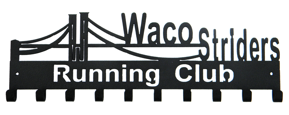 Waco Striders Running Club Black 10 Hook Medal Display Hanger