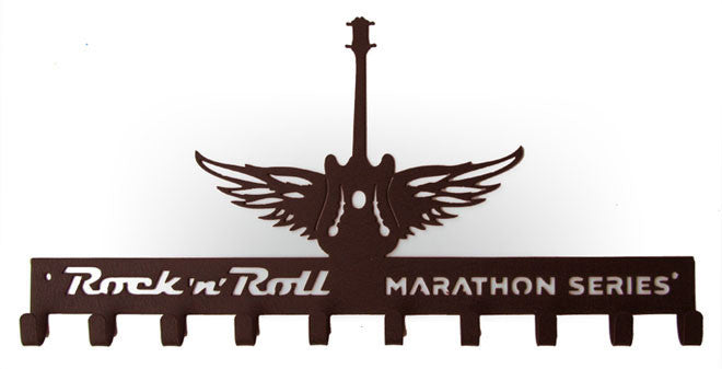 Rock n Roll Marathon Series Winged Guitar Bronze 10 Hook Medal Display Hanger