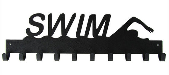Swim with Swimmer Black 10 Hook Medal Display Hanger