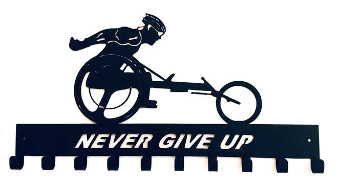 Never Give Up Wheelchair Black 10 Hook Medal Display Hanger