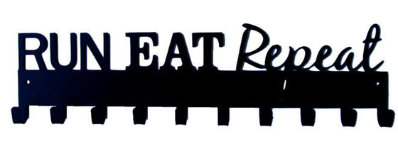 Run Eat Repeat Quote Black 10 Hook Medal Display